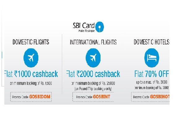 Goibibo is offering SBI Credit Card Offer Upto Rs.2000 Cashback on Domestic & International Flights || Flat 70% Off on Domestic Hotels How to catch the offer: Click here for offer page For Domestic Flight   Apply offer Code :-  GOSBIDOM(to Get Flat Rs.1000 Cashback  on Rs.6500 ) For International Flight  Apply offer Code :-  GOSBINT(to Get Flat Rs.2000 Cashback  Rs.25000) …