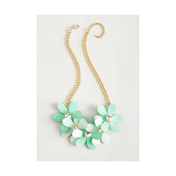 Statement Striking Your Fancy Necklace ($9.99) ❤ liked on Polyvore featuring jewelry, necklaces, accessories, mint, floral jewelry, fancy necklace, party necklaces, sports jewelry and mint jewelry