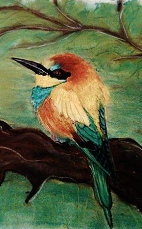 BEE_EATER pastels In the moss. colorfull bird, painting, hand made https://www.instagram.com/in.the.moss/