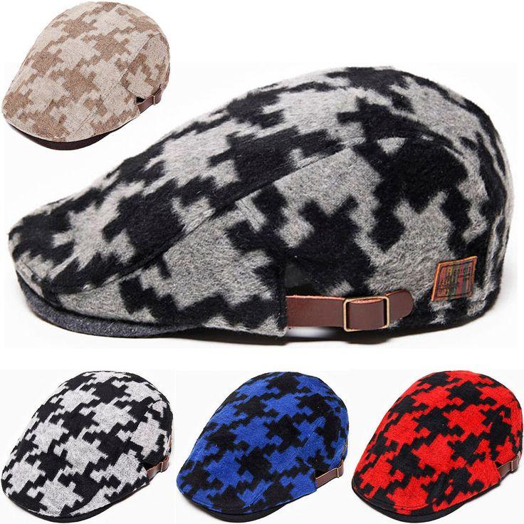 Mens Womens Wool Gatsby Caps Cabbie Newsboy Ivy Flat Hat Golf Driver Houndstooth #hellobincom #WiterNewsboyCabbie