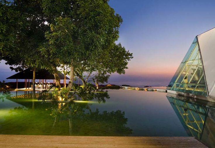 Pool in dusk by Tirtha Bridal Uluwatu Bali