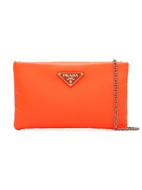 b90a202e33a6 Prada fluorescent orange clutch bag with chain | Wishlist | Orange ...