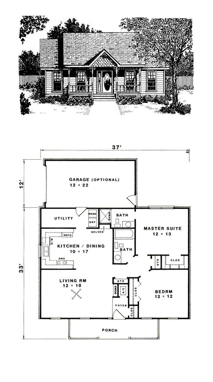Traditional House Plan 96562 | Total Living Area: 1036 SQ FT, 2 bedrooms and 2 bathrooms. #traditionalhome