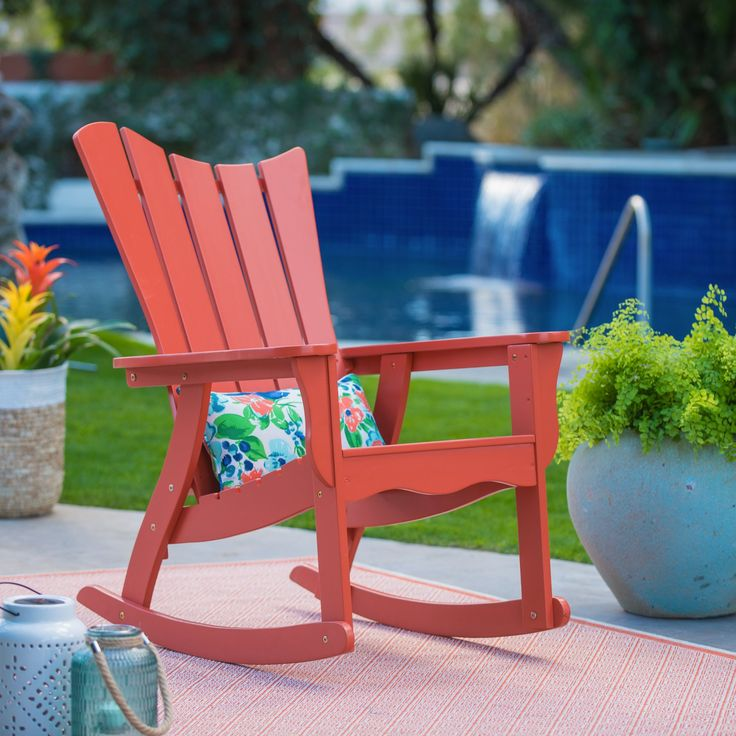Outdoor Belham Living Ocean Wave Adirondack Rocking Chair - Coral - VFS-GB43HD CORAL