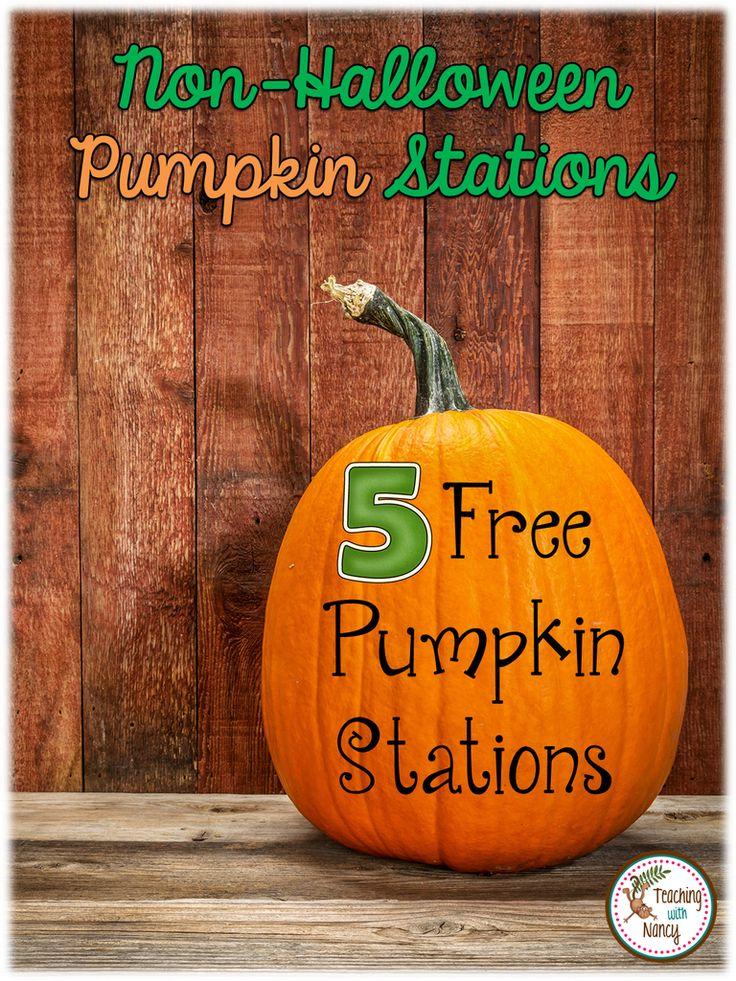 5 non-Halloween Pumpkin Stations for PreK and Kindergarten