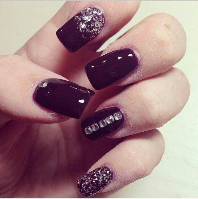 The 25 best purple gel nails ideas on pinterest fall gel nails dark purple gel nails with silver accents perfect for fall prinsesfo Gallery