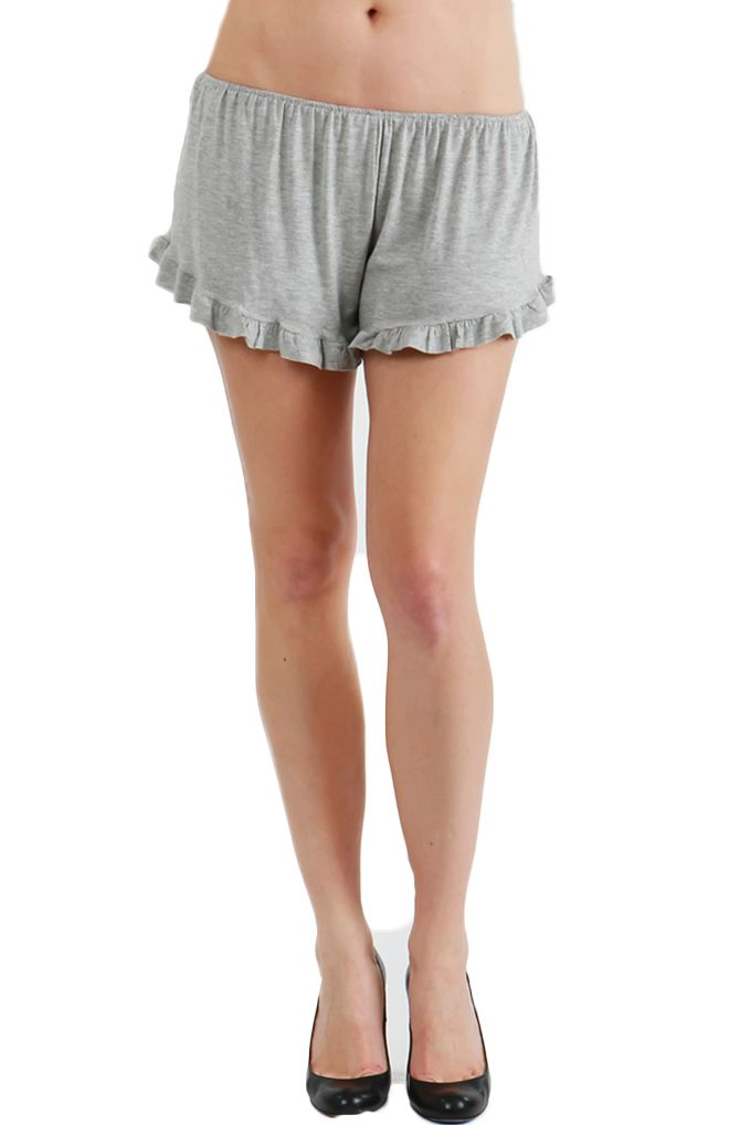 Solid ruffled hem shorts. P-24048-1