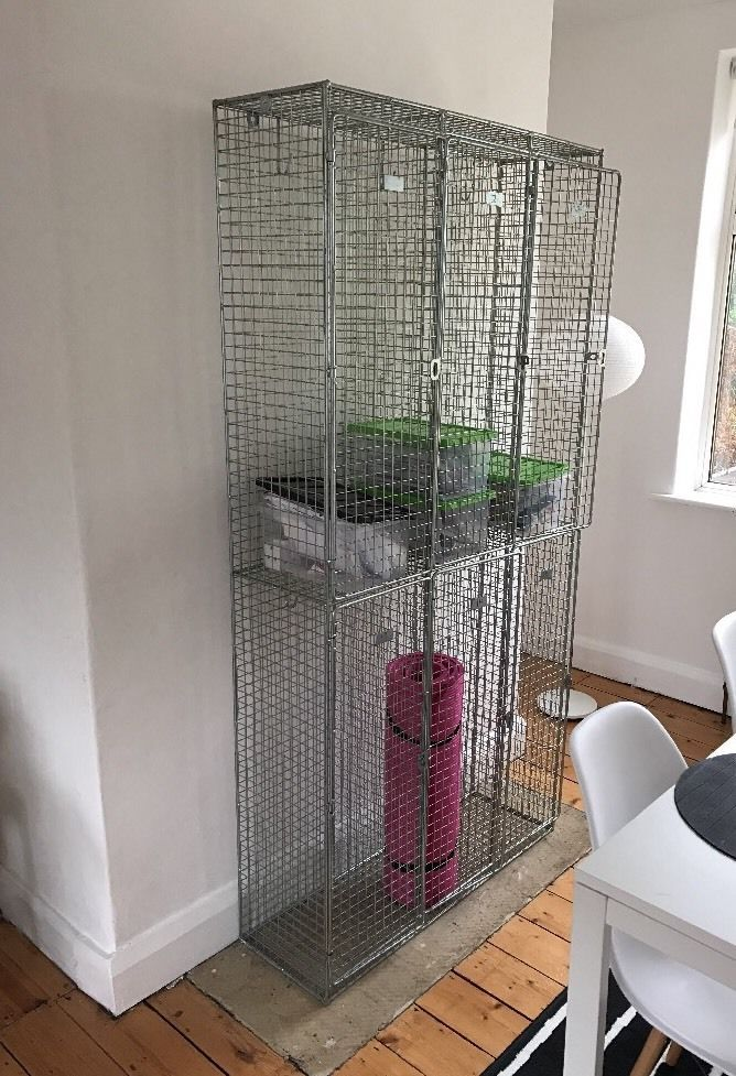 Very cool wire mesh sort of metal lockers Very usable! Have had in bedroom for storing underwear, storage in living room or fill it with trailing ivy plants for a garden look Good condition lots of wear to be expected- sold exactly as seen. Some doors don't shut properly, markings on doors from factory where it was from- presume marker pen can be removed. I LOVE this piece and I paid almost £200 for it- which is the going rate on here. COLLECTION WITHIN 5 DAYS please. LEEDS LS13 AREA. I D...