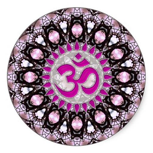Pink Gems Aum Spiritual Sticker.