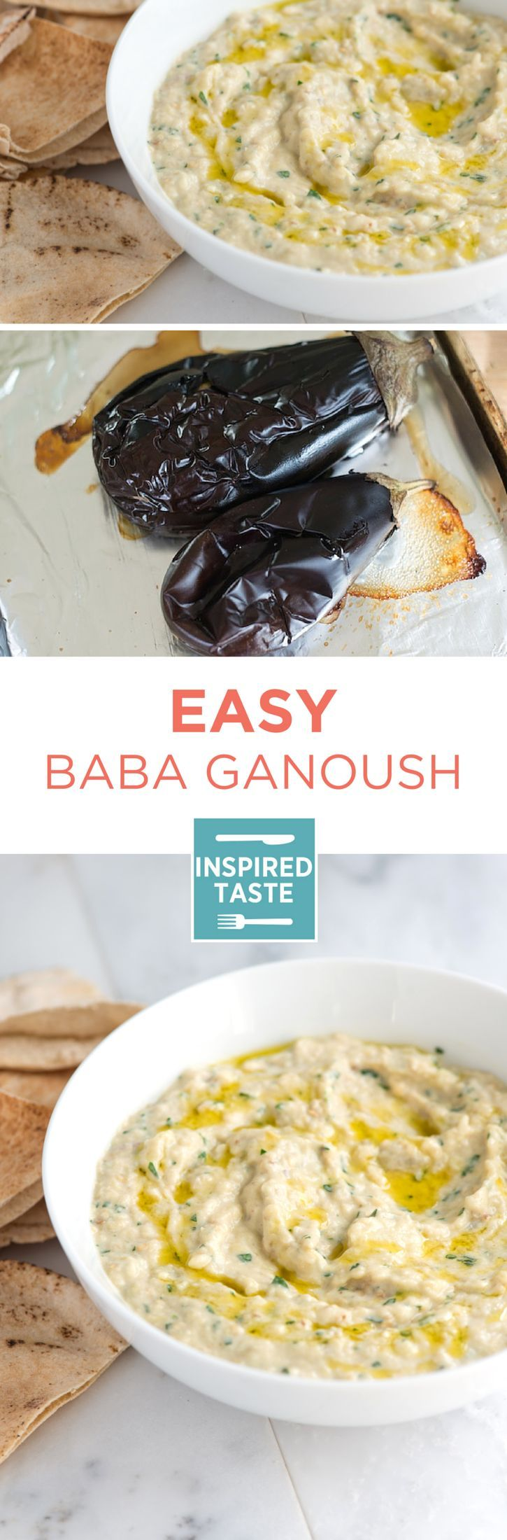 Making this baba ganoush recipe, an amazing roasted eggplant dip, at home is so simple. Serve with vegetables, sliced bread or baked pita chips. Recipe on inspiredtaste.net