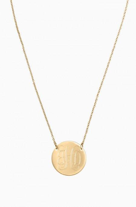 Cute Gold Necklace | Signature Engravable Disc Necklace | Stella & Dot