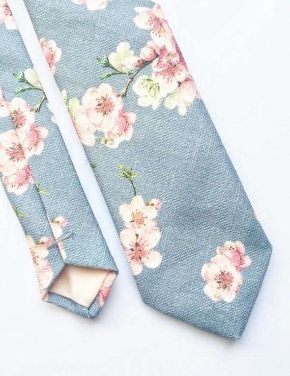 Mens floral tie cherry blossom print tie pink and by BeauTieUK
