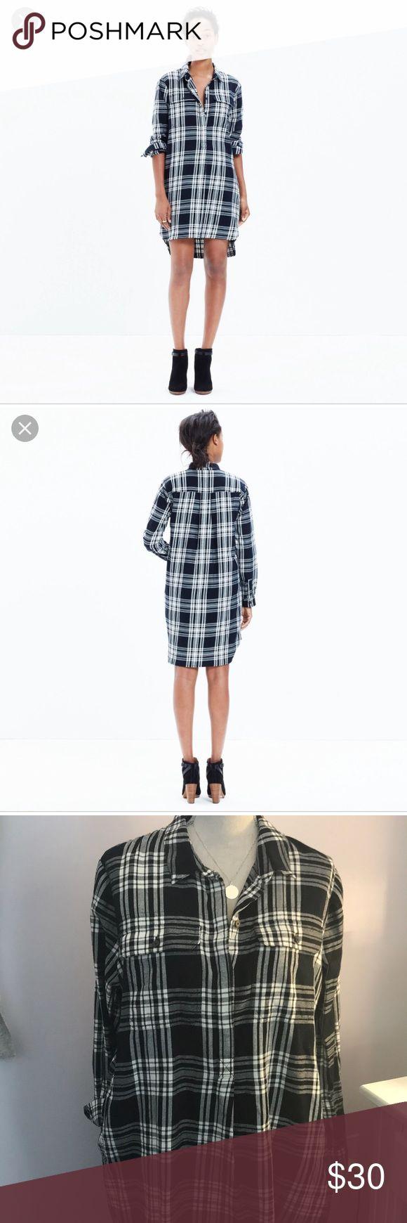 Madewell Daywalk Black flannel shirt dress sz L Long shirt dress sz L has two side pockets. Madewell Dresses