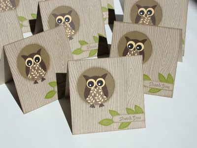 "Stampin' Up! ... handmade cards from Qbee's Quest: Owl Punch Thank You ... just over 3 1/2"" squares ... cute patterned paper ..."