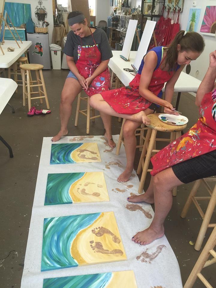 Strandmalerei mit Abdrücken #canvaspaintingparty #abdrucken #canvaspaintingpart
