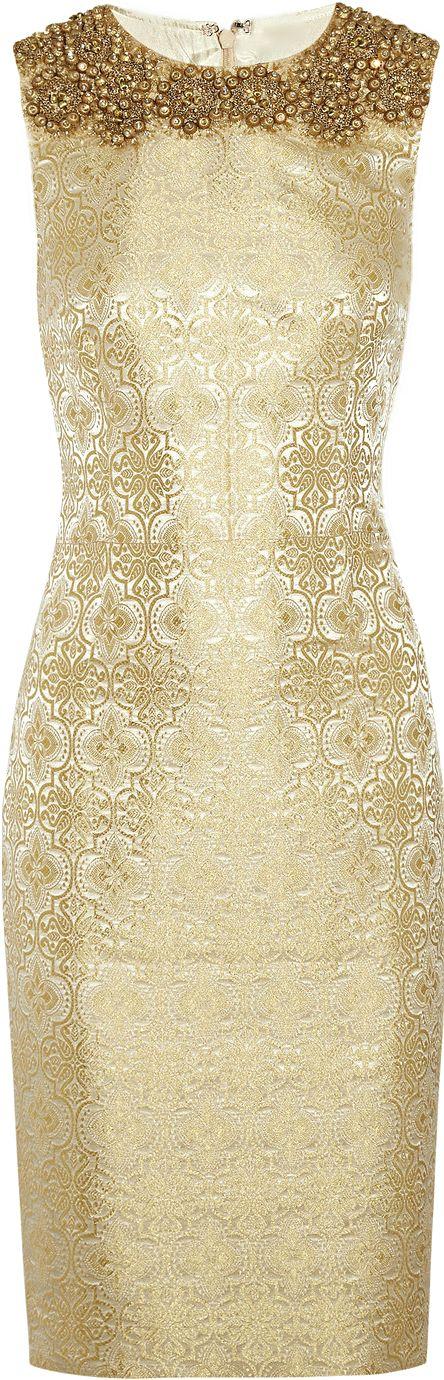 Vera Wang Gold Embellished Brocade Sheath Dress | The House of Beccaria~