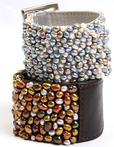 Pearl Encrusted Leather cuff