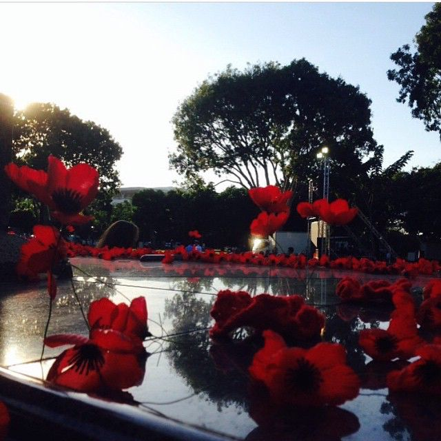 Poppies on the cenotaph in Bicentennial Park in Darwin. Photo via @abcdarwin #AnzacABC #AnzacDay #Anzac100 #poppies #darwin #NT