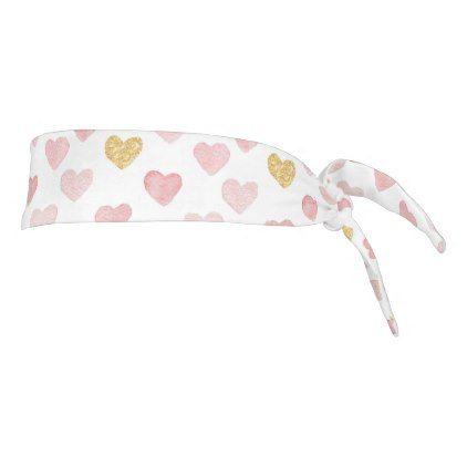 Pink And Gold Hearts Tie Headband - Saint Valentine's Day gift idea couple love girlfriend boyfriend design