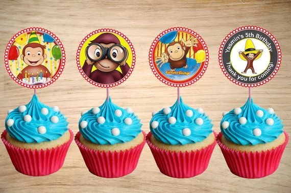 Curious George Cupcake Toppers - Curious George Birthday Party Tags -Curious George Circle Favor Tags 2""