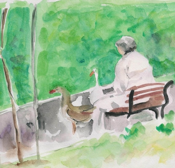 Feeding the Geese an original watercolor painting by TheJoyofColor, $62.00