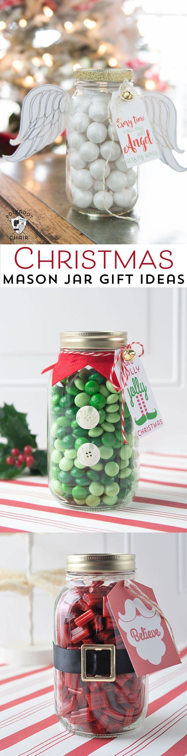Cute Angel Christmas Mason Jar Gift Ideas and printable Christmas tags and angel wings on polkadotchair.com #christmas #christmasgifts #christmasmasonjar #masonjar #masonjargifts #christmastags