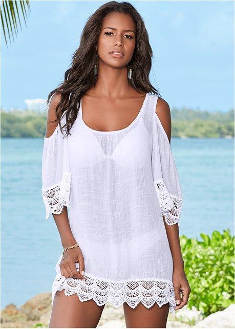 937ddb22f8cd9 COLD SHOULDER COVER-UP. COLD SHOULDER COVER-UP Bathing Suit Covers, Bathing  Suits, Beach Dresses, Dress