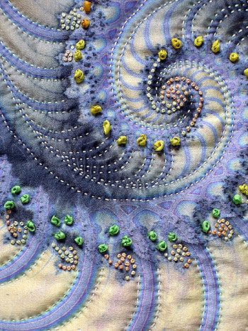 Detail 1 of Royal Crustacean - fractal art quilt.The French knots are embroidered in silk ribbon and embroidery floss.