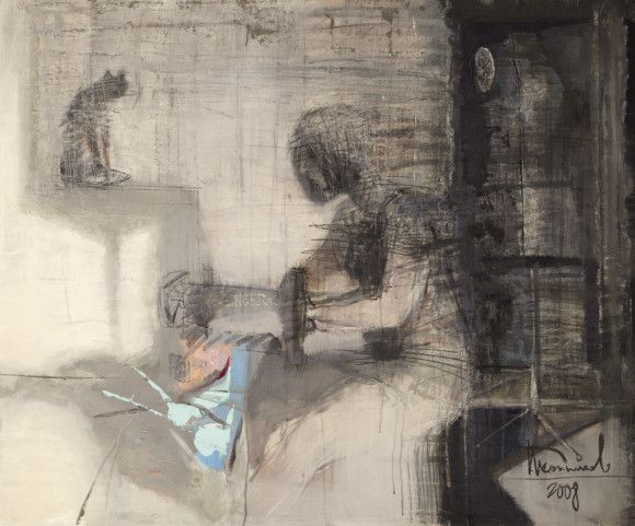 Seamstress, cat and mannequin. Canvas, acrylic. 100 x 120 cm. 2008