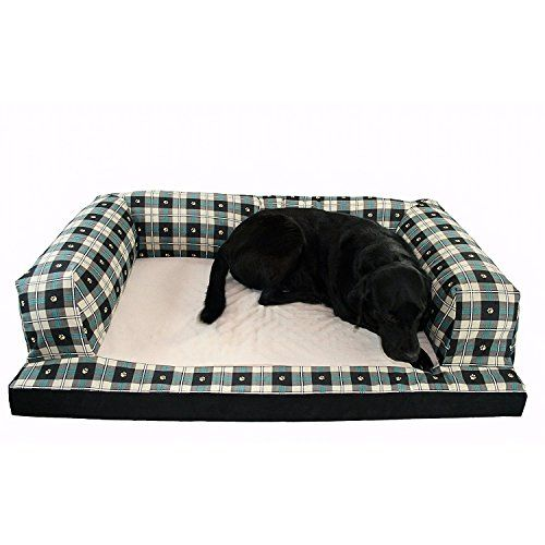 Bolstered Premium Dog Couch Fleece Orthopedic Foam Mattress Green and Beige Paw Print Patterned Machine Washable and Removable Cover Includes Our Exclusive Mousepad (Extra Large) ** You can find more details by visiting the image link. #DogBedsFurniture