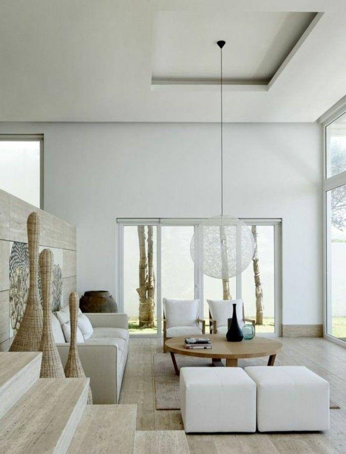 idee deco salon blanc et bois clair lampe design suspendu table ronde en bois clair
