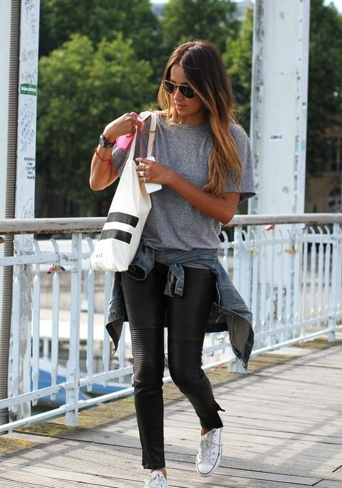 White cons, grey casual tshirt and jeans