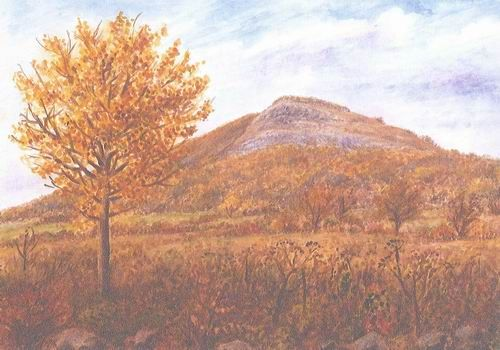 Basalt hill Hradiště u Litoměřic - České středohoří Northern Bohenia, watercolor by Jana Haasová