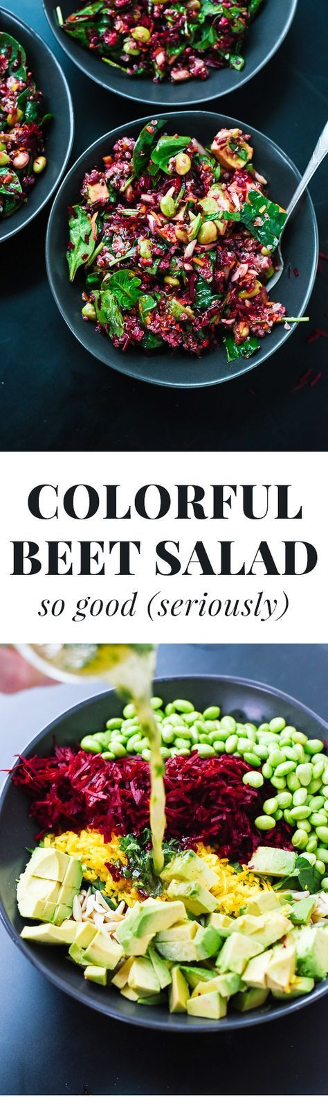 Everyone loves this healthy raw beet salad recipe with quinoa, carrots and spinach! Who knew shredded raw beets could be so good?