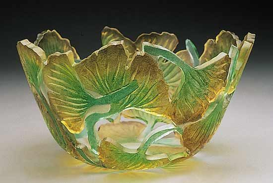 """Ginkgo Bowl""  Art Glass Bowl  Created by Ann Alderson Cabezas"