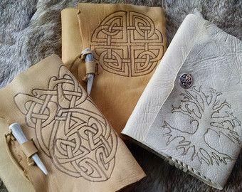 Riviste in pelle celtico, ricaricabili, bruciati nodi celtici, albero della vita - Scegli il tuo diario