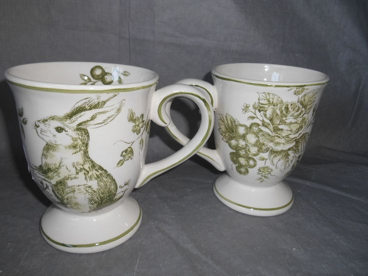 4 Maxcera GREEN WHITE TOILE Rabbit Bunny Footed Cups Mugs Easter Spring & 20 best Maxcera dinnerware images on Pinterest | Bunny Dinnerware ...