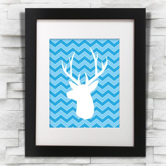 Chevron Christmas Deer Stag Printable Art 8x10 inch 1 by oyedesign