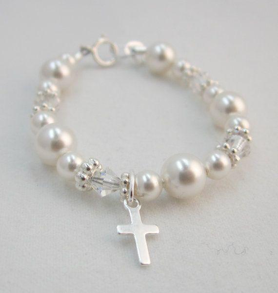 Baptism Gift, Baby Bracelet Sterling Silver Cross (BCRSS) on Etsy, $21.99