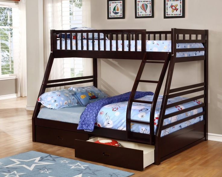 fraser iii espresso twin over full bunk bed with storage drawers and solid wood
