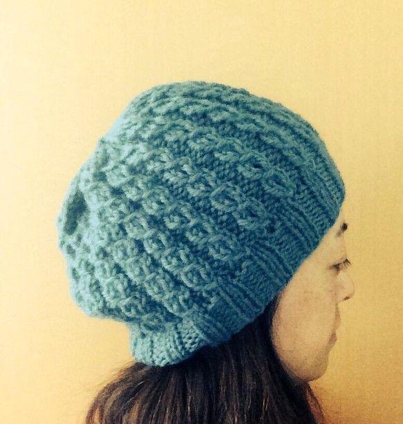 ブルーグリーンのニット帽です。太い糸でふっくらふかふか。女性のフリーサイズ。ウール100%|ハンドメイド、手作り、手仕事品の通販・販売・購入ならCreema。