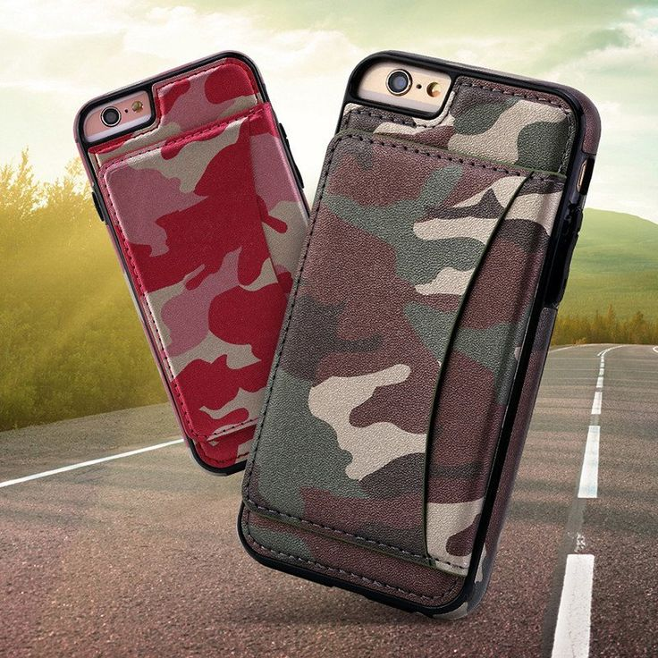 iPhone 6 & iPhone 6S Case, TNI 2016 Camo Leather Credit Card Holder Case for…