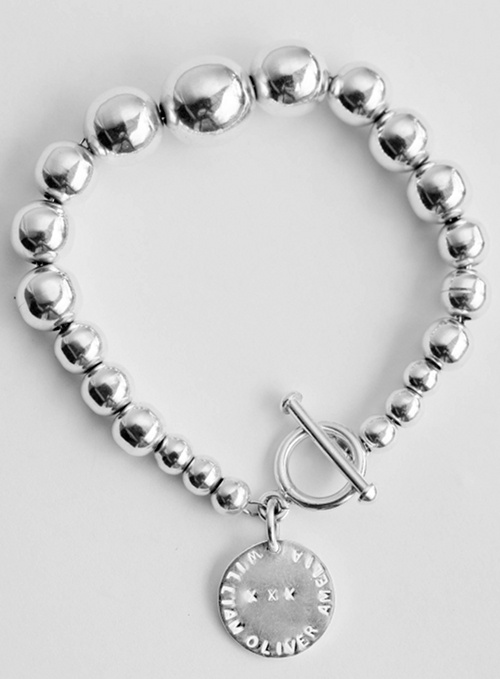 AMELIA is one of the bracelets in the koolaman designs lustrous silver seeds collection. The AMELIA bracelet uniquely features  the graduated balls, starting with the small CHARLOTTE sized balls on the ends and featuring the large ball in the middle.  The bracelets are all standard sized and measure just over 20cms in length. $250.00 http://www.koolamandesigns.com.au/shop/amelia-bracelet-p-677.html
