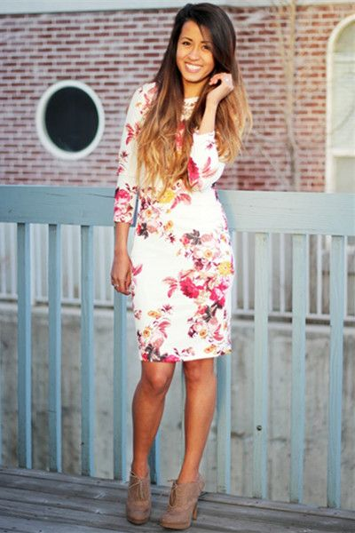 Pencil Dress In Floral | Choies