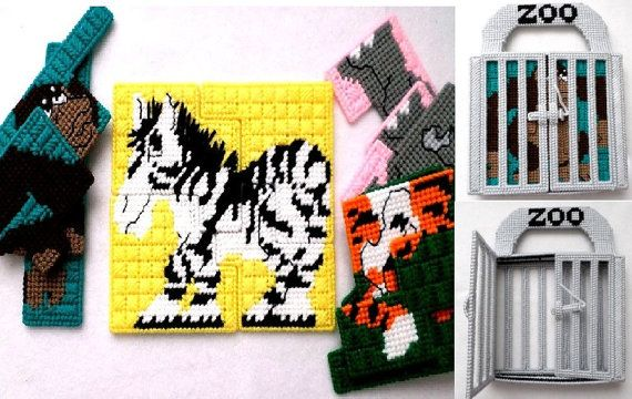Plastic Canvas Zoo Puzzle Set by gailscrafts on Etsy