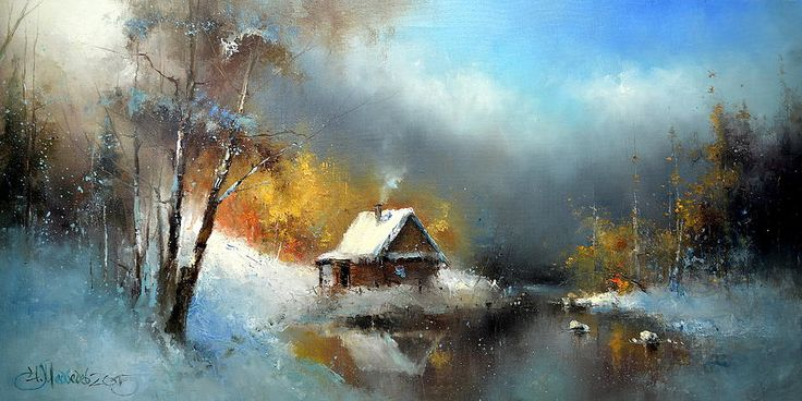 Russian Artists New Wave Painting - Lodge In The Winter Forest by Igor Medvedev
