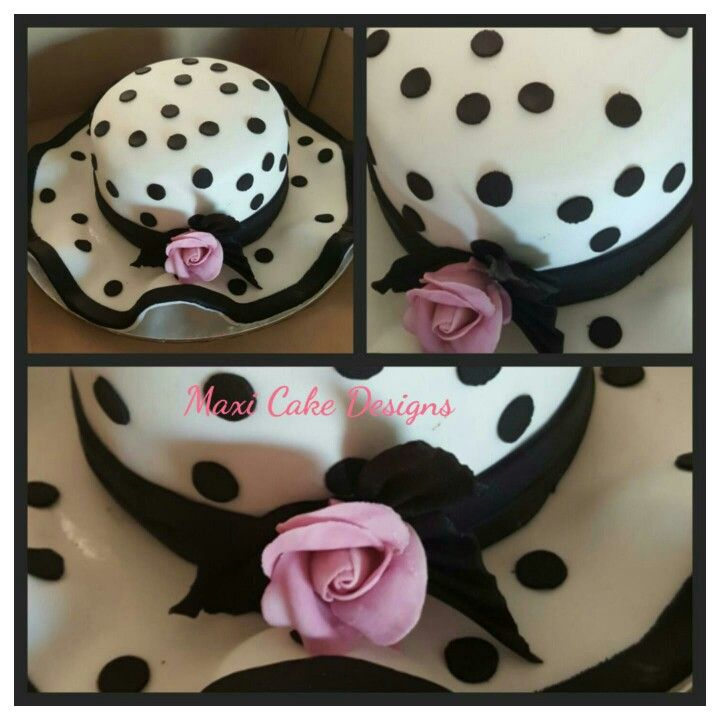 Polkadot black and white hat cake #cakeoftheday https://www.facebook.com/MaxiCakeDesigns