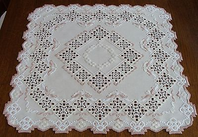 HARDANGER Embroidery - enchanting lightcream TABLE CLOTH - handmade