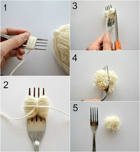 make a pom pom with a fork. lovely tip