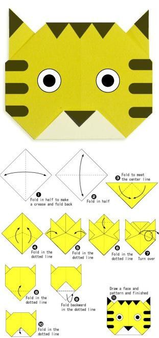 Paper craft tiger origami
